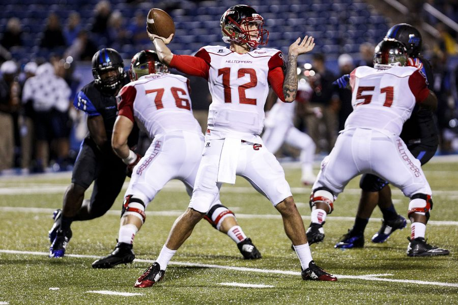 Redshirt+senior+quarterback+Brandon+Doughty+reset+his+own+single-game+WKU+passing+yards+record+with+593+yards+during+the+WKU+vs+Middle+Tennessee+State+University+game+at+Johnny+%22Red%22+Floyd+Stadium+in+Murfreesboro+on+Sept.+13%2C+2014.+Alyssa+Pointer%2FHERALD