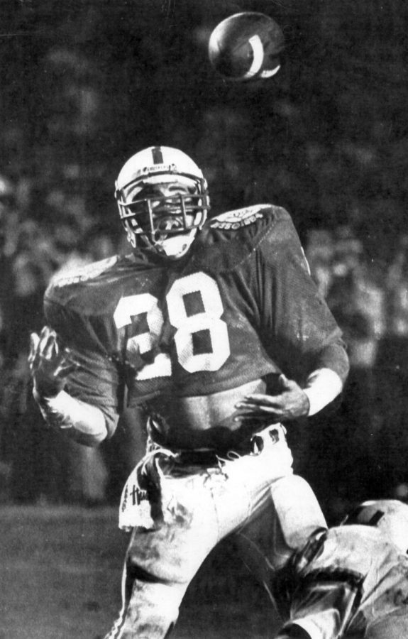 Nebraska's Jeff Smith has a two-point conversion pass from Turner Gill batted away in the fourth quarter against Miami in the 1984 Orange Bowl.
