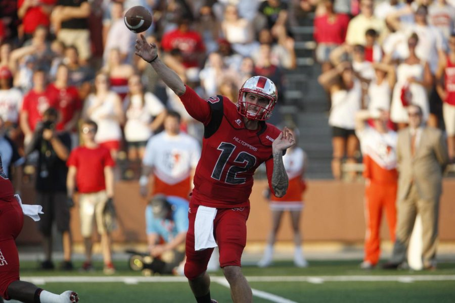 Redshirt senior quarterback Brandon Doughty passes the ballduring the first half of WKU's game against Bowling Green State Friday, Aug. 29, 2014, at Houchens Industries - L.T. Smith Stadium in Bowling Green, Ky.Mike Clark/HERALD