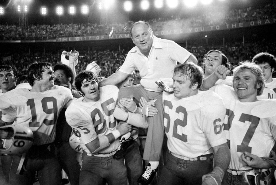 Nebraska coach Bob Devaney is carried off the field after NUs 40-6 victory against Notre Dame in the 1973 Orange Bowl. It was Devaneys last game as Husker coach.