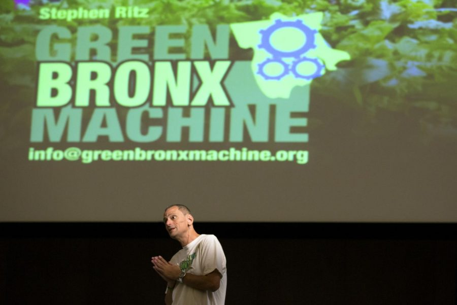 Guest speaker Stephen Ritz answers audience questions after his lecture, entitled