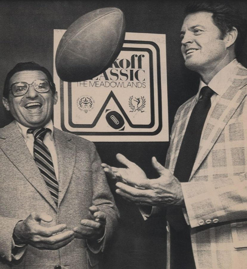 Penn State's Joe Paterno and NU's Tom Osborne clown around during a news conference before the 1983 Kickoff Classic. The controversial finish to the teams' game the year before led to them playing in the inaugural Kickoff Classic.