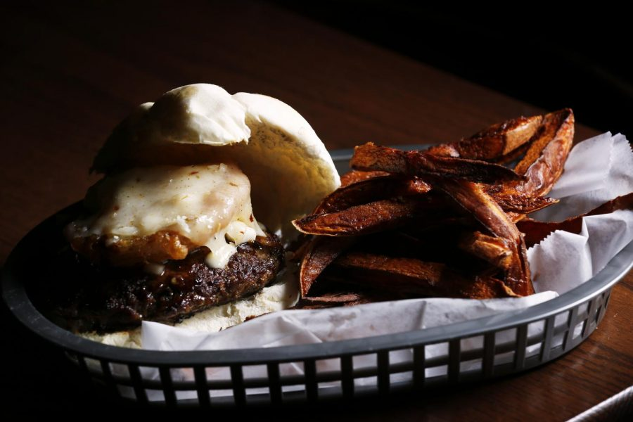 Kahuna burger and sweet potato fries at Burgers and Bun located at 729 Chestnut St. Alyssa Pointer/HERALD
