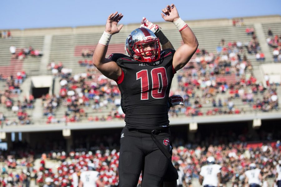 Redshirt+junior+linebacker+Nick+Holt+%2810%29+celebrates+with+redshirt+senior+defensive+back+Cam+Thomas+after+a+third-down+stop+during+the+first+half+of+Western+Kentucky%27s+game+vs.+Old+Dominion.+WKU+led+42-30+at+the+half.+Brandon+Carter%2FHERALD