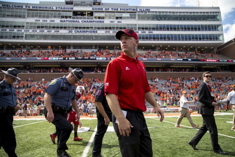 Head coach Jeff Brohm after WKU's 34-42 loss against the University of Illinois Saturday, Sept. 6, 2014, at Memorial Stadium in Champaign, Ill. Mike Clark/HERALD