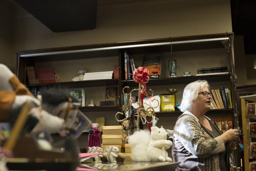Victoria Gordon, an associate professor of political science, shops for gifts to give to her grandchildren over the holidays at the Kentucky Museum Store. They always have great holiday gifts, Gordon said. Im sad to hear they are closing down. Luke Franke/HERALD