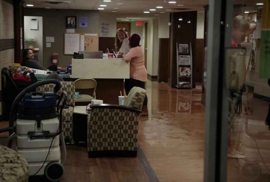 The+lobby+of+Minton+Hall+floods+on+Oct.+18.+Jake+Pope%2FHERALD