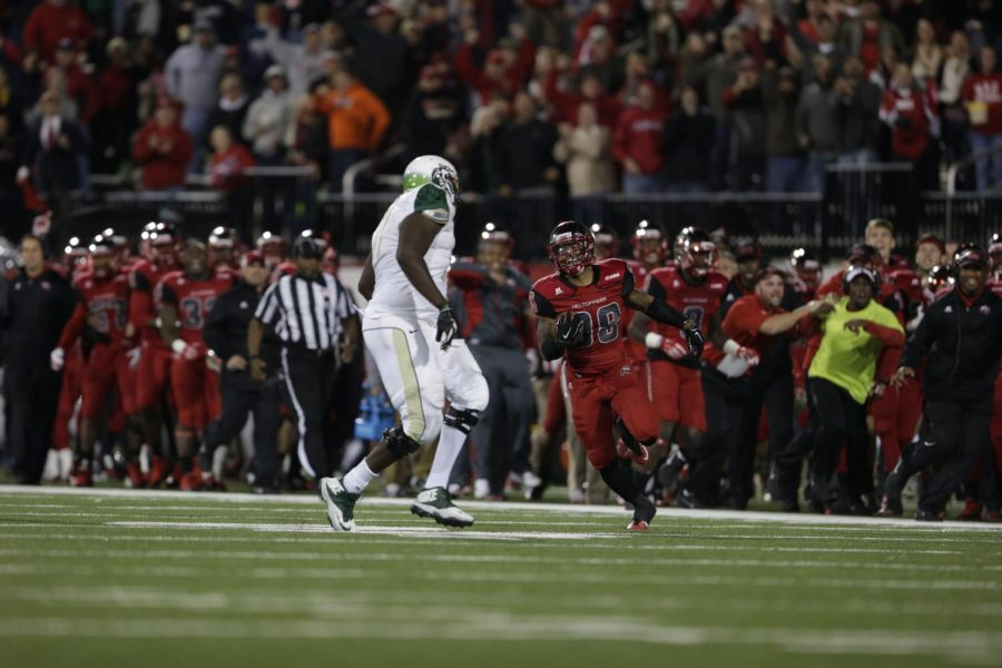 WKU senior defensive back Ricardo Singh (38) sprints downfield just after picking off a UAB pass in the second half of WKU's matchup against Conference USA opponent UAB Saturday October 4, 2014 at Smith Stadium.Luke Franke/HERALD