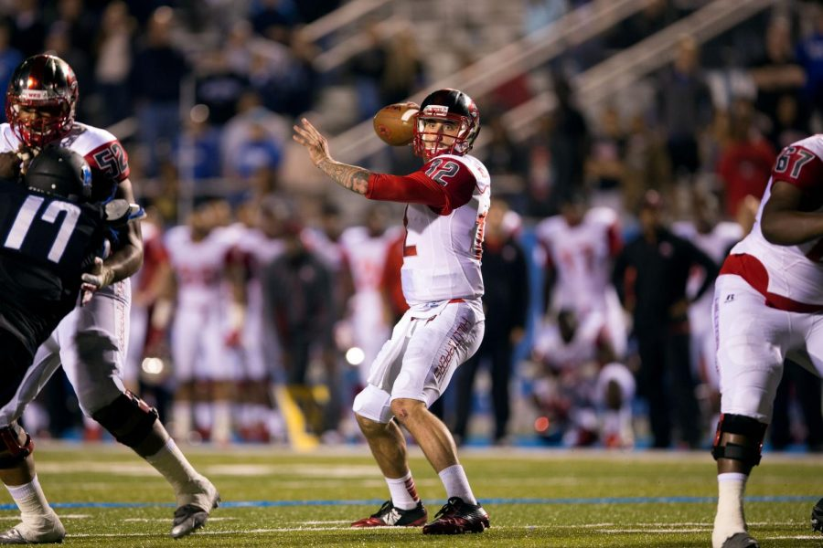 Redshirt senior quarterback Brandon Doughty throws the ball during WKU's triple overtime loss to Middle Tennessee State University at Johnny Floyd Stadium in Murfreesboro, Tennessee on Saturday, Sept. 13. Nick Wagner/HERALD