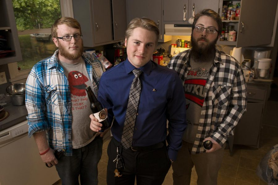 Marion senior Zach Sizemore (center) and his roommates, New Castle graduate Josh Barnette and Brownsville senior Kyle Vincent, brew their own beer,