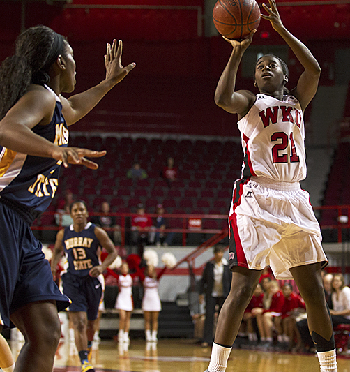 Junior guard Alexis Govan (21) shoots during WKU's 86-63 win over Murray State Saturday, Nov. 16, 2013, at Diddle Arena in Bowling Green, Ky.