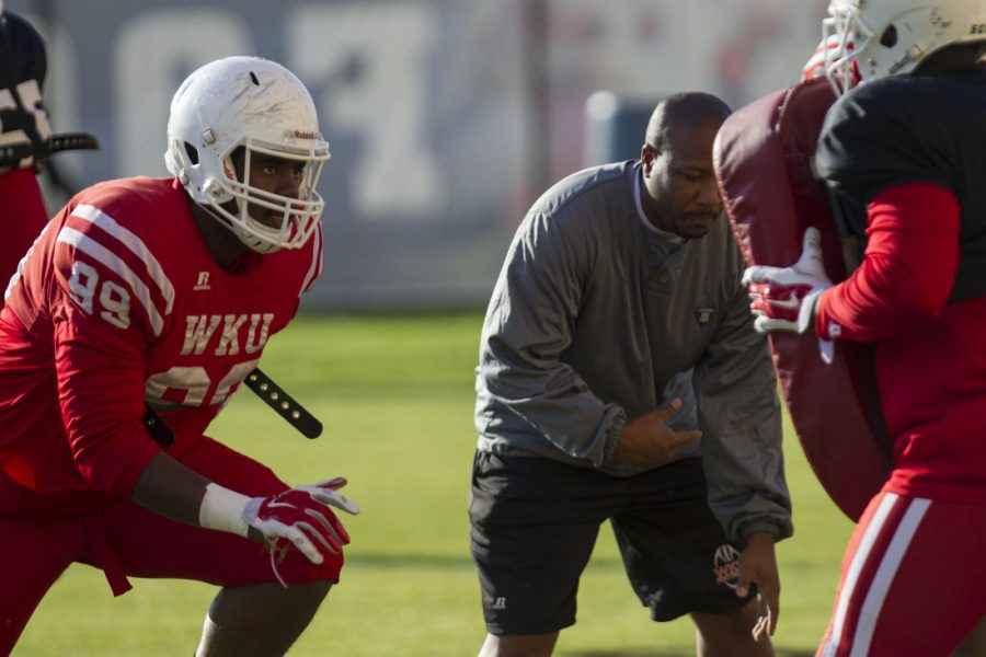 Sophomore defensive lineman D'Von Issac (99) lines up during a drill at practice on Tuesday. The Hilltoppers, coming off a45-38 loss to Florida Atlantic, face Old Dominion at home on Saturday. Brandon Carter/HERALD