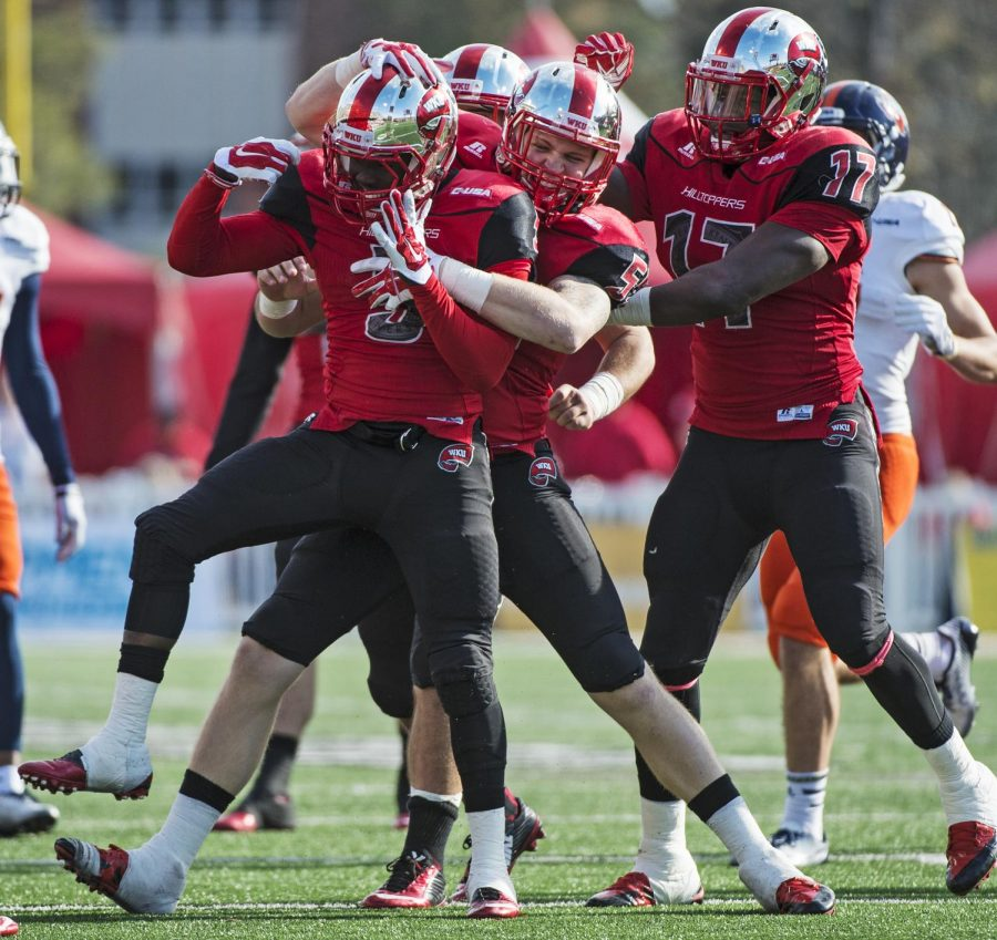 WKU%27s+Wonderful+Terry+%285%29+celebrates+a+tackle+with+teammates+during+Saturday%E2%80%99s+game+at+Houchens-Smith+Stadium+in+Bowling+Green%2C+Ky.%C2%A0Nick+Wagner%2FHERALD