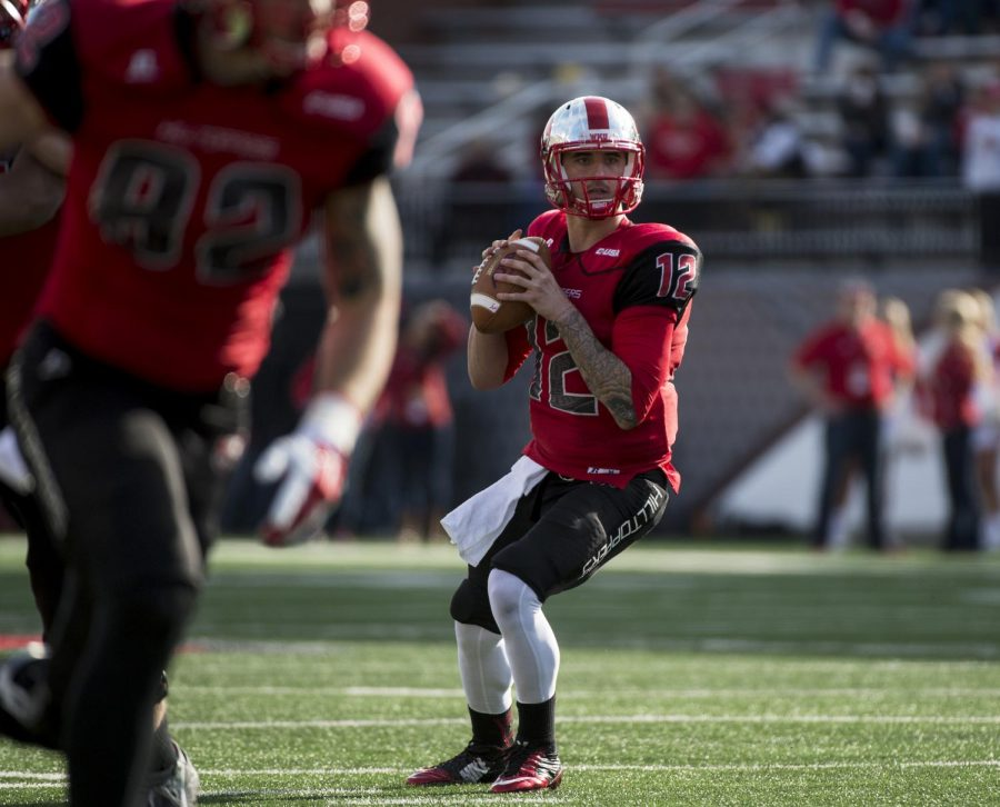 Redshirt senior quarterback Brandon Doughty looks downfield during Saturday's game at Houchens-Smith Stadium in Bowling Green, Ky.Nick Wagner/HERALD