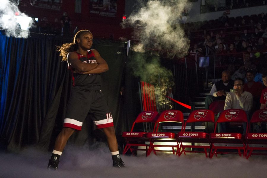 Sophomore guard Kierra Muhammad dances during her introduction during Hilltopper Hysteria on Oct. 18 at Diddle Arena. The event featured player introductions for both the men's and women's basketball teams, scrimmages, a three-point contest and a slam dunk contest. Brandon Carter/HERALD