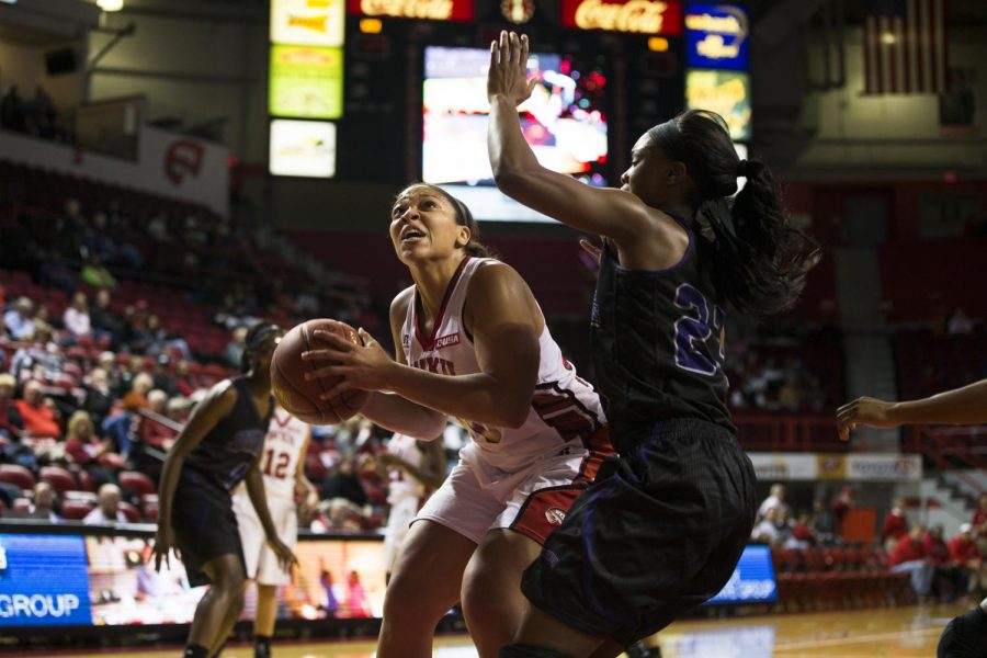 Senior forward Chastity Gooch goes up for a shot during the first half of WKUs Nov. 14 game against Central Arkansas. Gooch scored 14 points in the Lady Toppers 93-57 victory over the Sugar Bears in the first round of the Preseason Womens NIT. Brandon Carter/HERALD
