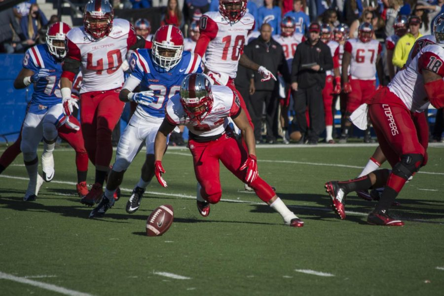 Redshirt freshman receiver Kylen Towner fumbles the ball on a kickoff against Louisiana Tech on Nov. 1. The Hilltoppers dropped a 59-10 decision to the Bulldogs.