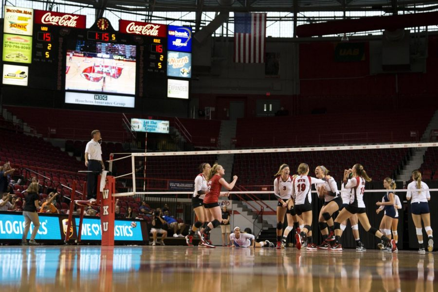 WKU volleyball vs Rice on Sept 28 at Diddle Arena. WKU won in five sets. Brandon Carter/Herald