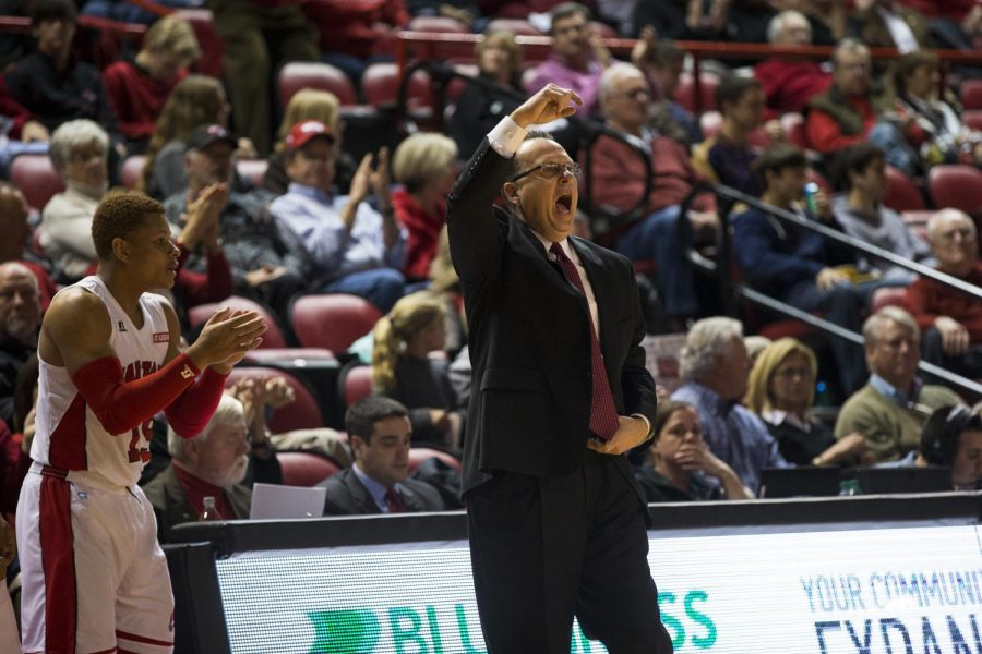 Head+Coach+Ray+Harper+yells+to+his+team+after+a+forced+turnover+during+the+second+half+of+WKU%27s+62-52+victory+over+Bowling+Green+State.+The+Hilltoppers+totaled+five+steals+and+held+the+Falcons+to+a+34.5%25+shooting+percentage+from+the+field.+Brandon+Carter%2FHERALD