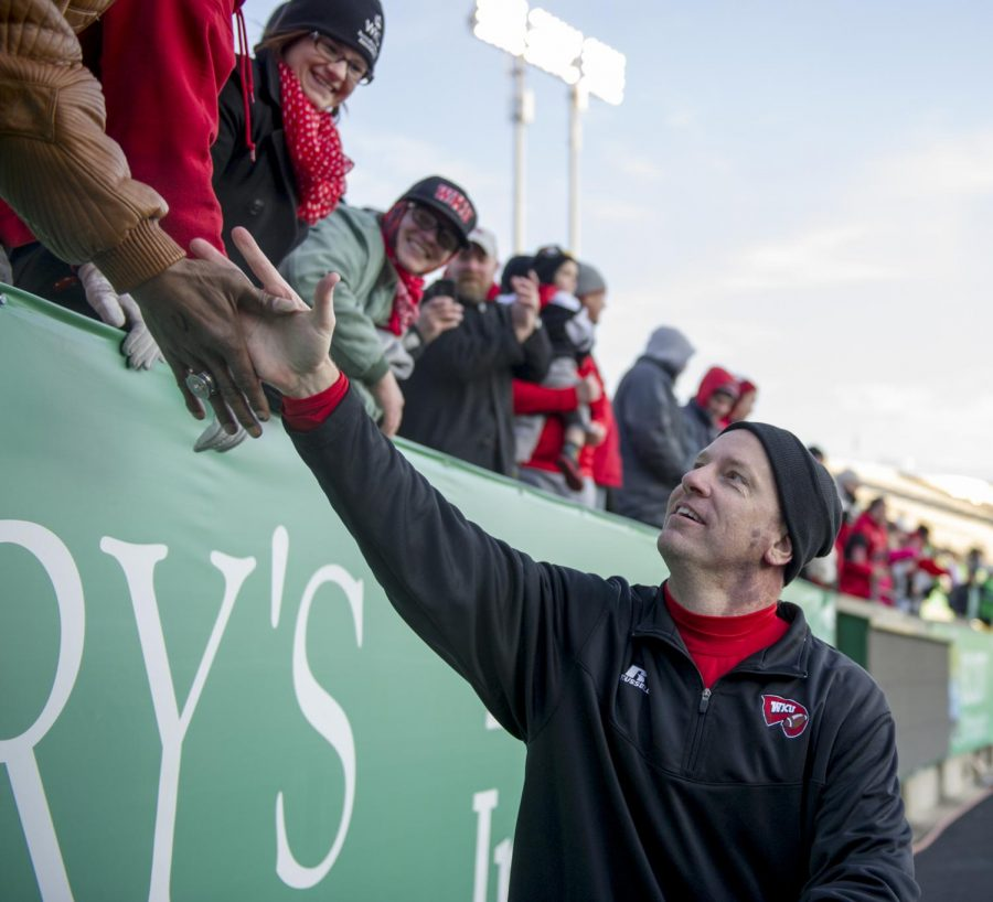 Hilltoppers head coach Jeff Brohm greets fans after Fridays game in Huntington, West Virginia.Nick Wagner/HERALD