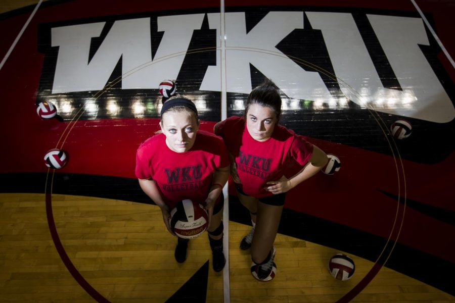 WKU+freshmen+volleyball+players+Jessica+Lucas+%28left%29+and+Alyssa+Cavanaugh+are+two+of+five+freshmen+on+the+volleyball+team+this+season.+Lucas%2C+last+week%27s+C-USA+Setter+of+the+Week%2C+has+a+total+of+424+assists+in+41+sets+this+season.+Cavanaugh+has+113+kills+in+12+games.+Nick+Wagner%2FHERALD