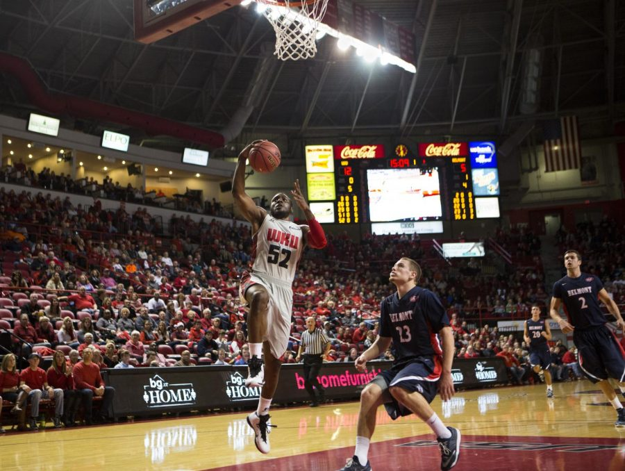 Senior+guard+T.J.+Price+%2852%29+goes+up+for+a+layup+during+WKU%27s+game+against+Belmont+on+Saturday.+Price+scored+15+points+and+pulled+down+nine+rebounds+in+WKU%27s+64-63+loss+to+the+Bruins.+Brandon+Carter%2FHERALD