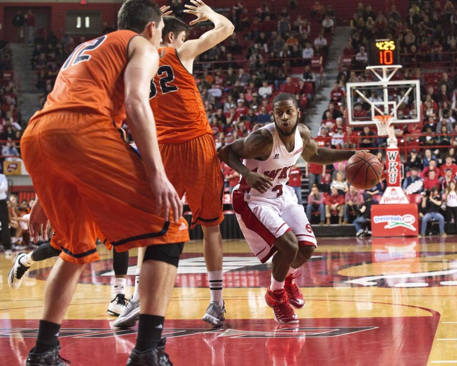 Senior guard Trency Jackson (3) penetrates the lane during the first half of the Hilltoppers matchup against Conference USA opponent UTSA. The Toppers would go on to win the game 83-74 and remain undefeated in conference play. Luke Franke/HERALD