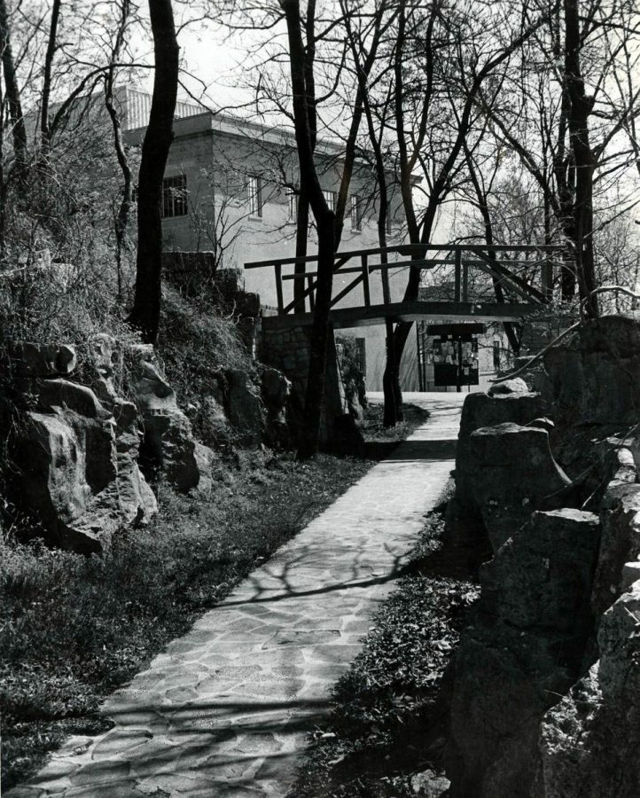 Bridge at Fort Johnston with Cherry Hall in background. Archived photo, 1985. Gary Hairlson.