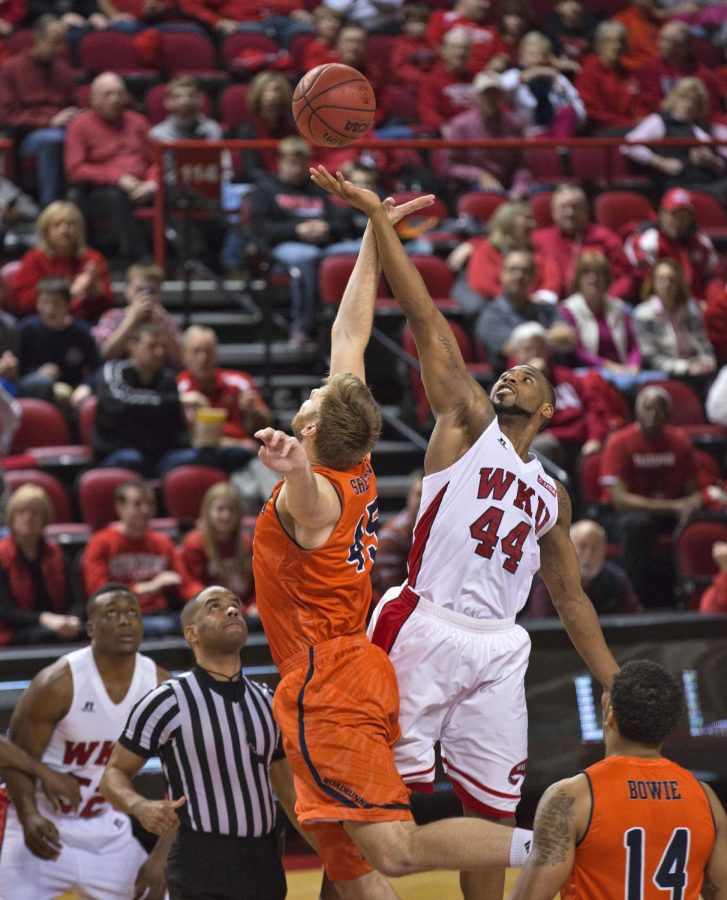 Senior forward George Fant (44) and UTSA center Kaj-Bjorn Sherman (45) jump for the opening tip of their conference matchup at Diddle Arena on Jan. 24. The Hilltoppers won 83-74. Luke Franke/HERALD