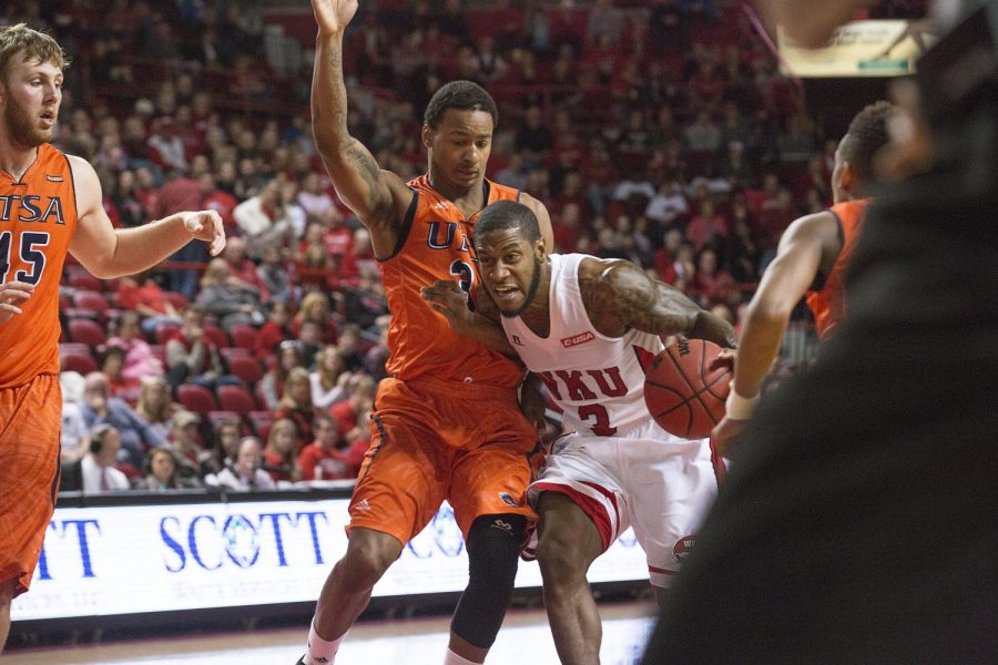 WKU senior guard Trency Jackson (3) breaks into the lane during the first half of the Hilltoppers matchup against Conference USA opponent UTSA. The Toppers would go on to win the game 83-74, remaining undefeated in conference play. Nick Wagner/HERALD