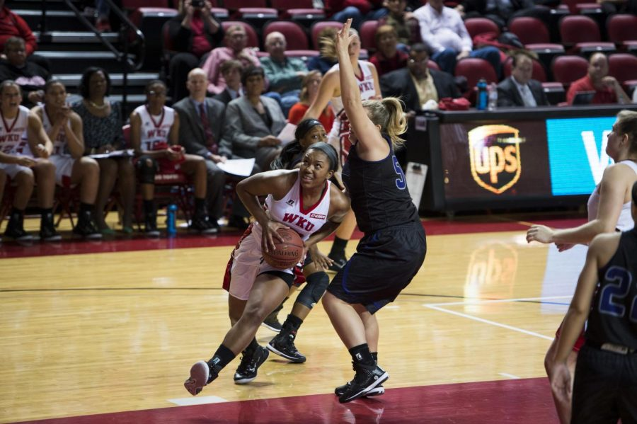 Junior+forward+Jalynn+McClain+drives+towards+the+basket+during+the+second+half+of+WKU%27s+Nov.+14+game+against+Central+Arkansas.+The+Lady+Toppers+defeated+the+Sugar+Bears+93-57+to+advance+in+the+Preseason+Women%27s+NIT.+Nick+Wagner%2FHERALD