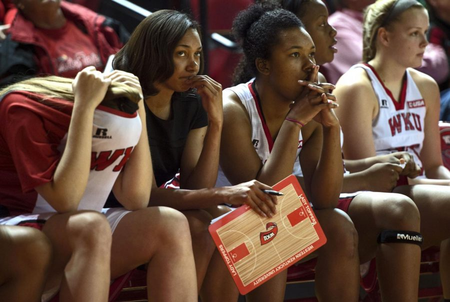 Lady Hilltoppers watch the final seconds of a basketball game against Southern Mississippi on Jan. 31, 2015 at E.A. Diddle Stadium. WKU lost the game with a final score of 61-63.