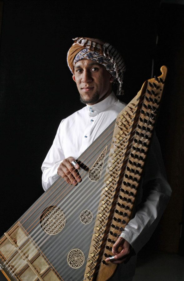 Medinah, Saudia Arabia senior Abbas Alsabah plays the traditional Middle Eastern instrument, the qanun, and has continued studying the art while attending WKU by taking lessons from an overseas instructor. Funding from the Saudi Arabian government has encouraged significant growth in Saudi student population in Bowling Green and the fostering of international cultural arts. For example, Alsabah has been joined at WKU by several of his cousins, several of whom are also interested in traditional music. Photo by Leanora Benkato/ WKU HERALD