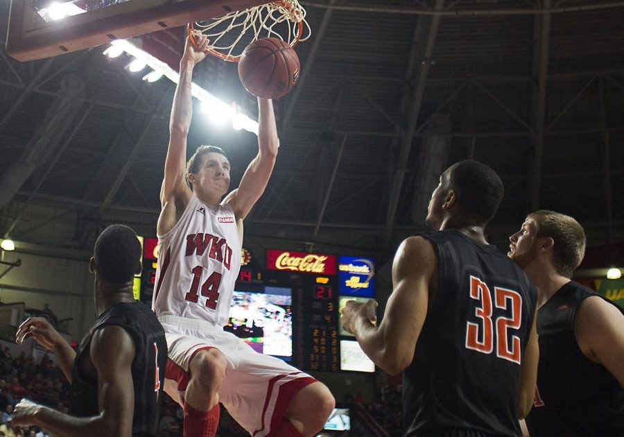WKU sophomore Ben Lawson slam dunks for an easy two during the teams matchup against UTEP.