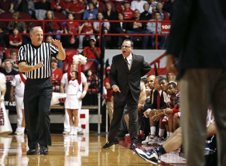 WKU mens head basketball coach Ray Harper draws a technical foul against Conference USA opponent Rice Feb. 7, 2015 at E.A. Diddle Arena. The Hilltoppers would go on to lose to the Owls 72-68 in only their third home loss of the season. (Luke Franke/Herald)