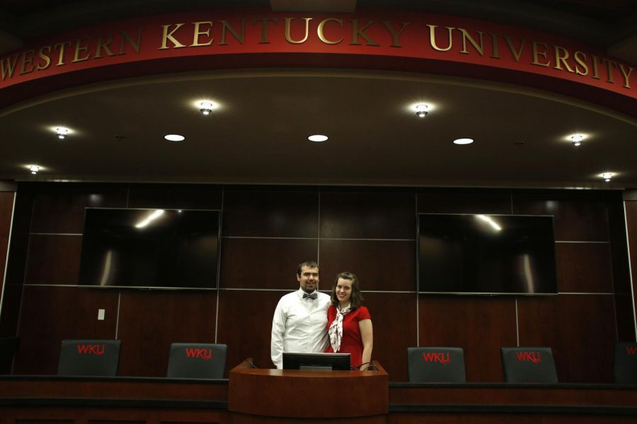Nicki, 22, and Travis, 26, Taylor met at SGA in 2012 and married two years later on September, 28, 2014. Hes definitely the more serious one of us, said Nicki. We balance each other out, added Travis. Both graduate from WKU in spring. Nicki will be graduating with a double major in Mass Communication and Agricuture while Travis will graduate with a Masters in Organizational Leadership. He was also a double major in undergraduate school at WKU, double majoring in Political Science and International Affairs. This is the second masters degree he has worked towards; his first was in Student Affairs. After their graduations in May, Travis plans to find a job and Nicki plans to go to seminary to earn a Masters in Divinity and hopes to be ordained as a deacon in the United Methodist Church. HERALD/Erica Lafser