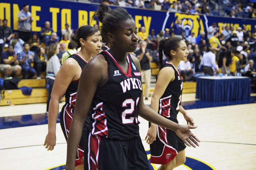 Senior+Lady+Topper+basketball+players+%28from+left%29+Chastity+Gooch+%2830%29%2C+Alexis+Govan+%2821%29+and+Ileana+Johnson+%2824%29+walk+off+the+court+after+losing+to+University+of+Texas%2C+64-66%2C+during+the+first+round+of+the+NCAA+Womens+Tournament+at+Haas+Pavilion+in+Berkley%2C+California%2C+Friday%2C+March+20%2C+2015.+Jeffery+Brown%2FHERALD