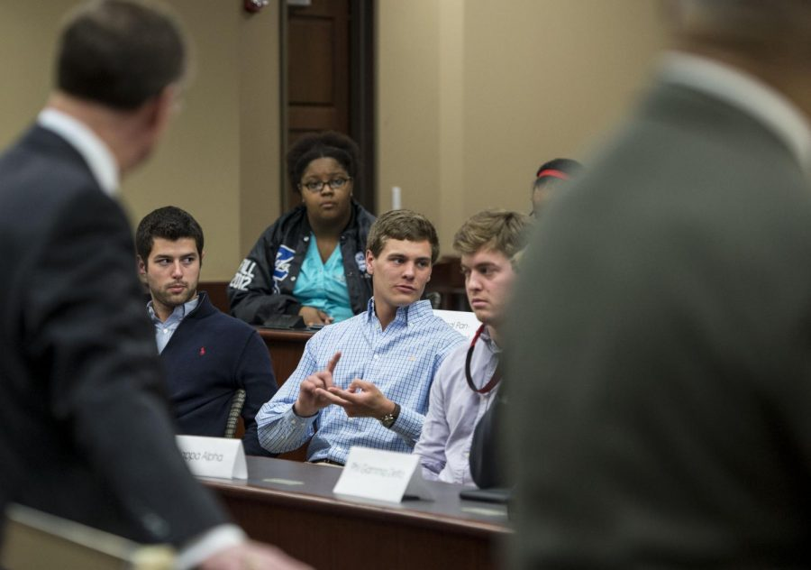 Sigma Alpha Epsilon Chapter President Dan Mulert responds to a question regarding his chapter's reaction to the racist chant that surfaced in a video from University of Oklahoma's SAE chapter last. President Gary Ransdell, himself an alumnus of SAE, invited all Greek chapter presidents to meet Wednesday, March 18, 2015, at the Senate Chambers in DSU.Nick Wagner/HERALD