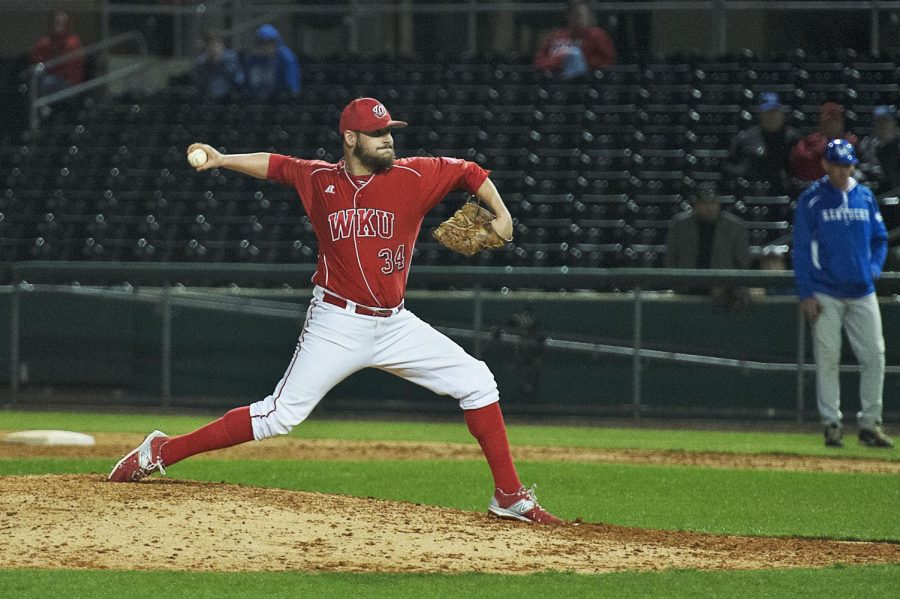 Pitcher+Tate+Glasscock%2C+%2334%2C+throws+a+pitch+during+a+baseball+game+against+UK+on+March+24%2C+2015+at+Hot+Rod+Stadium+in+Bowling+Green.+WKU+won+the+game+with+a+final+score+of+12-3.+Emily+Kask%2FHERALD