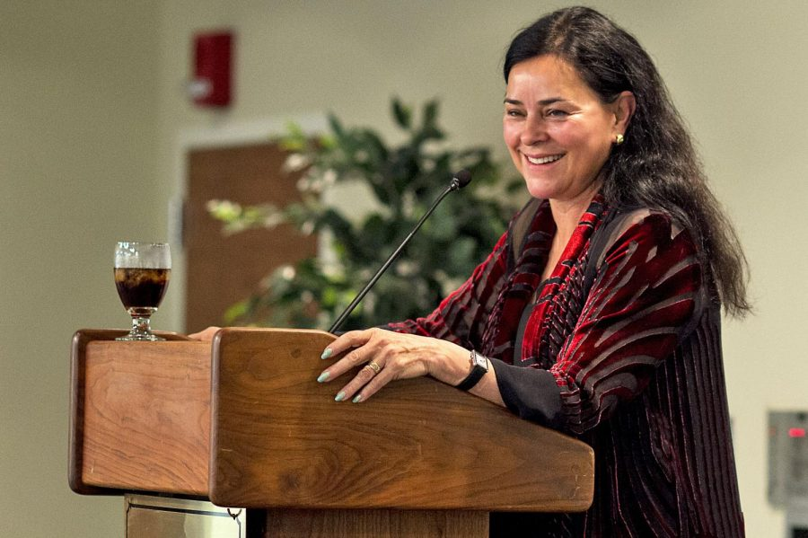 American fiction novelist Diana Gabaldon speaks to a full room at the 2015 Southern Kentucky Book Fest, held at the Knicely Conference Center on Saturday, April 18, 2015. The WKU Libraries-sponsored event is one of the state's largest literary events and drew thousands of readers of all ages to meet and have their books signed by authors. Gabaldon, the keynote speaker of the event, is author of the famed Outlander series, which was adapted for television on Starz in 2. WILLIAM KOLB/HERALD