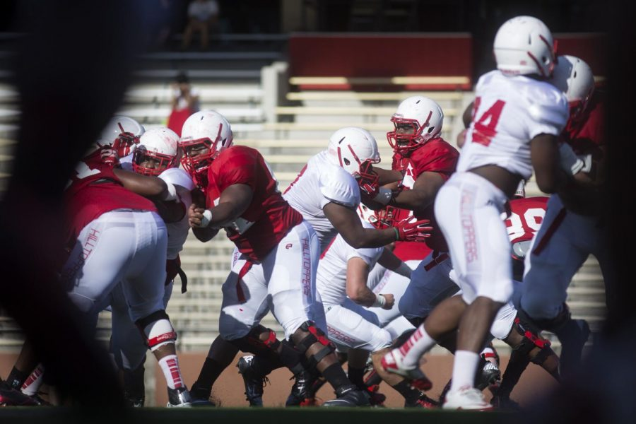 WKU lineman participate in full contact drills during the teams open practice Wednesday at L.T. Smith Stadium. (Luke Franke/Herald)