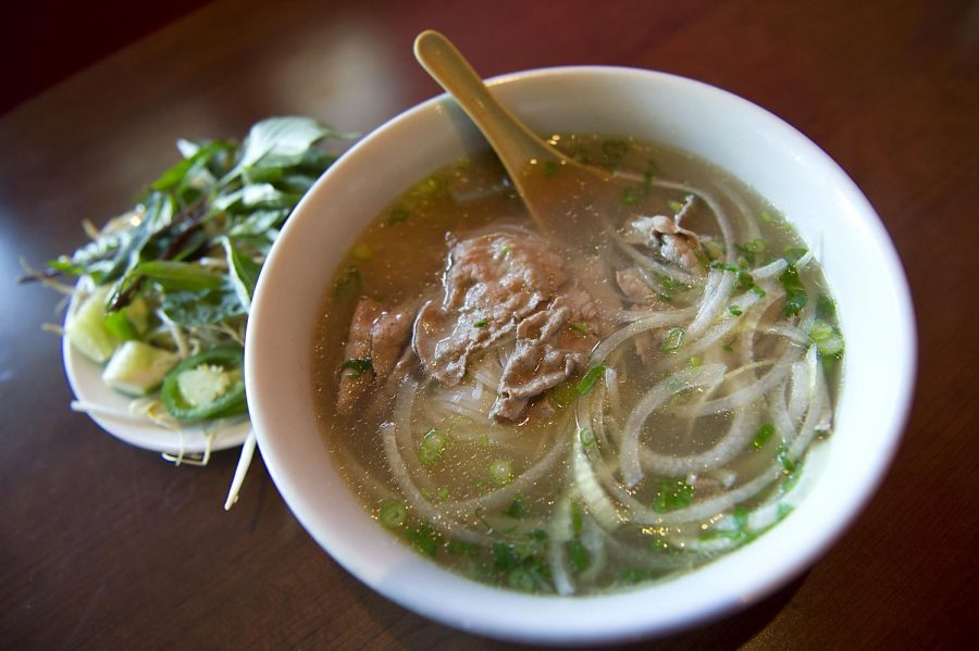Tucked away in a strip mall off of Campbell Lane in Bowling Green, Tsunami offers cuisine from Vietnam, Japan and China. This particular dish, the Pho Tai Bo Vien, originates from Vietnam and consists of broth, noodles, steak, and a beef ball. Accompanying the soup is a plate of fresh bean sprouts, basil leaves and lime slices. Nick Wagner/HERALD