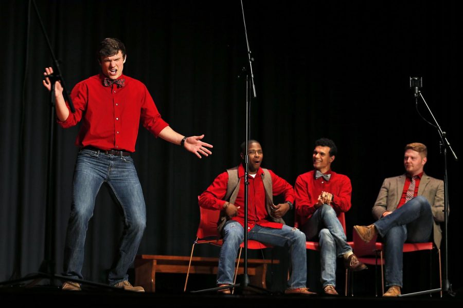 Evan+Kerr+from+Louisville+acts+out+along+side+his+fellow+Redshirts+a+cappella+group+on+Friday+April+18%2C+2015+in+DSU+Auditorium.+ASHLEY+COOPER%2FHERALD