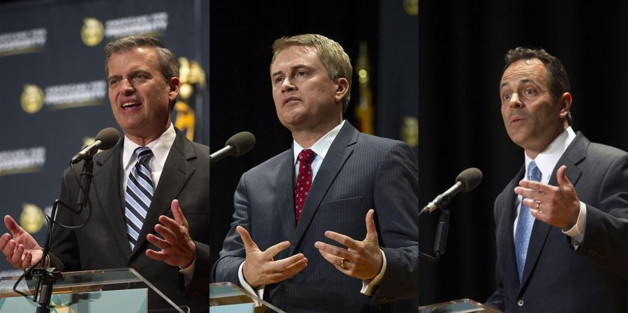 Republican candidates for Kentucky Governor, Hal Heiner(from left), James Comer and Matt Bevin, address a set of questions during the gubernatorial debate at Downing Student Union's auditorium on Tuesday, March 28, 2015. The televised debate was sponsored by WKU's Department of Political Science. Nick Wagner/HERALD