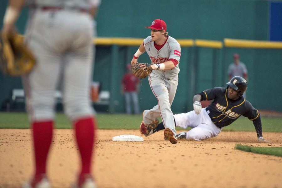 WKU+second+baseman+Leiff+Clarkson+prepares+to+receive+a+throw+as+the+Hot+Rods%27+Bralin+Jackson+slides+safely+into+second+base+during+game%2C+Tuesday%2C+April+7%2C+at+the+Bowling+Green+Ballpark.+Nick+Wagner%2FHERALD