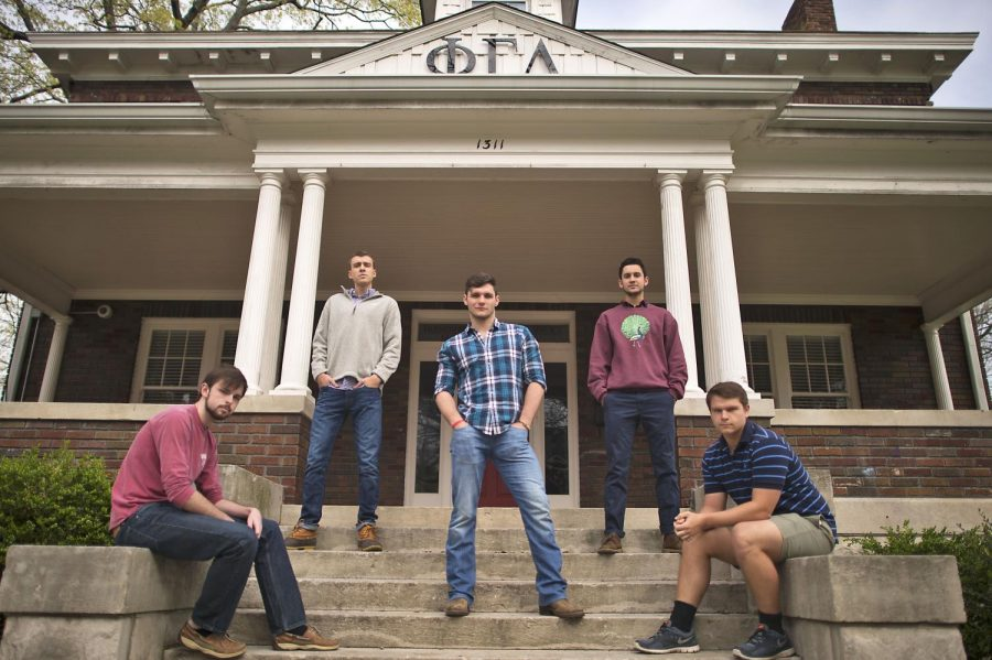 Phi Gamma Delta fraternity members Peyton Rhea (from left), Drew Tingle, Jacob Hodges, Daniel Aroh, and Jamie Harverner are five of the fifteen participants in the annual Fiji Date Auction. The fundraising event will take place, April 7 at 7 p.m. in the Downing Student Union Auditorium. Harrison Hill/HERALD