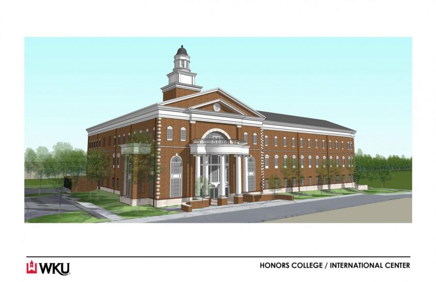 An illustration of the new Honors College and International Center building that will be completed in 2015.