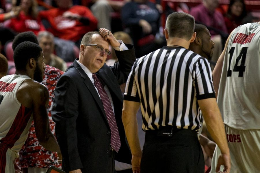 Head coach Ray Harper scratches his head at the offical during WKUs 63-64 loss against Belmont Saturday, Nov. 22, 2014, at E.A. Diddle Arena in Bowling Green, Ky. Mike Clark/HERALD