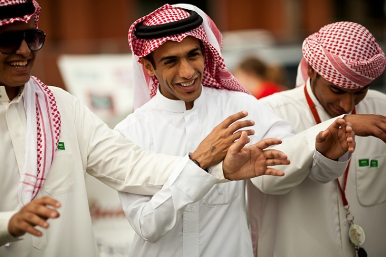 Freshman Fahad al Humaid, center, of Saudi Arabia performs a traditional dance with his friends—This photo is from the College Heights Herald archives and does not depict the Iftar dinners.
