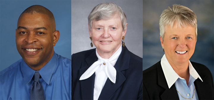Thomas A. George III (left), Naomi J. McAfee (center) and Nancy L. Quarcelino (right) will be inducted into WKU's Hall of Distinguished Alumni this fall during Homecoming. Photo courtesy of Western Kentucky University.